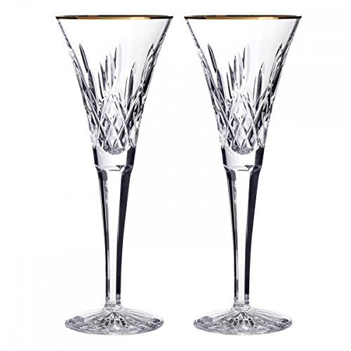 Waterford Lismore Gold Toasting Flute, Pair