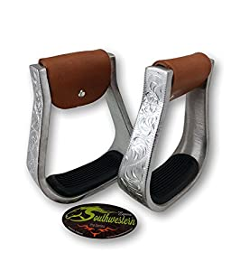 Aluminum Engraved Western Stirrups with Rubber Pads - By Southwestern Equine