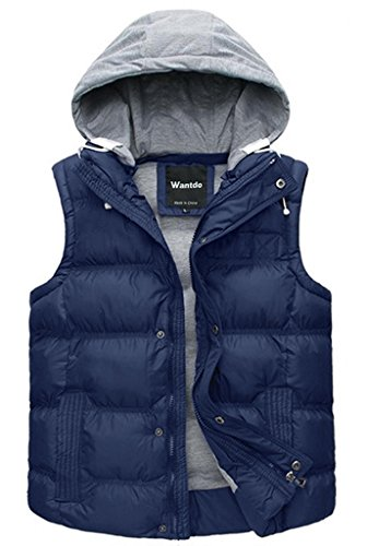 Wantdo Men's Winter Puffer Vest Removable Hooded Quilted Warm Sleeveless Jacket Gilet Sapphire Blue Medium Flannel Boys Jacket