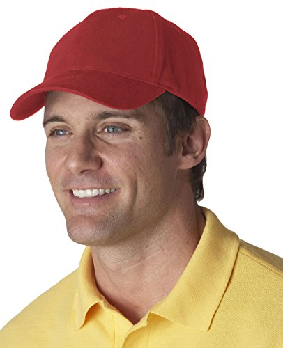UltraClub Classic 6 panel Cut Brushed Constructed Cap, One Size, Red -