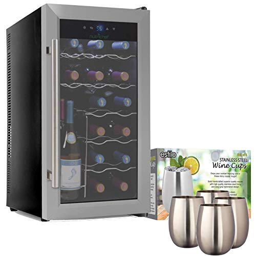 NutriChef PKTEWC18 - Electric Wine Cooler - Wine Chilling Refrigerator Cellar (18-Bottle) with Estilo Stainless Steel Stemless Wine and Cocktail Cups, 16-ounce- Set 4