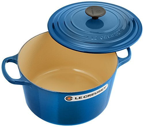 Le Creuset of America Cast Iron Cookware Round Dutch Oven, 5.25Qt, Marseille (Best Size Le Creuset Dutch Oven)
