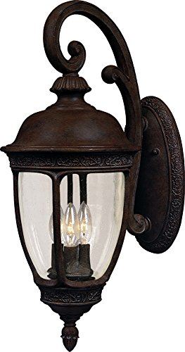 Maxim 3465CDSE Knob Hill Cast 3-Light Outdoor Wall Lantern, Sienna Finish, Seedy Glass, CA Incandescent Incandescent Bulb , 60W Max., Dry Safety Rating, Standard Dimmable, Frosted Glass Shade Material, Rated Lumens Review