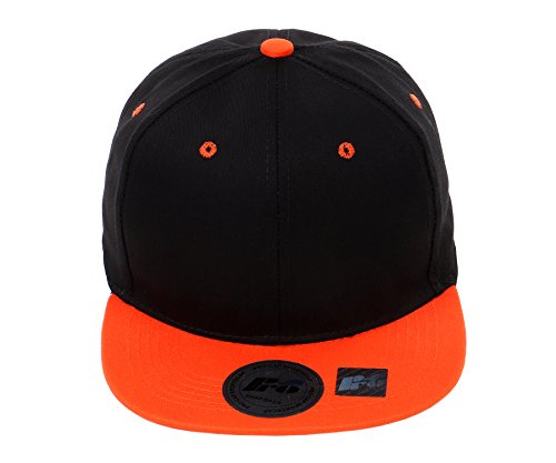 Cap Womens Adjustable Black (RufnTop Snapback Cap, Blank Hat Flat Visor Baseball Adjustable Caps (Black Orange One Size))