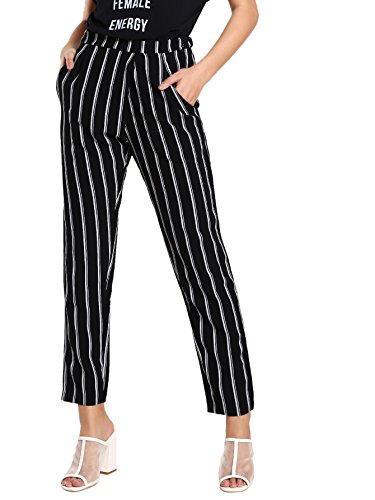 (SweatyRocks Women's Striped Elastic High Waist Slim Fit Loose Casual Long Pants Black White M)