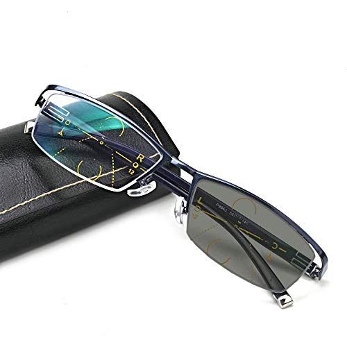 Glass Photochromic - MINCL/Sun Photochromic Reading Glasses Men adjustable vision With Multifocal Diopter Progressive glasses lentes (blue, SPH 0 ADD+250)