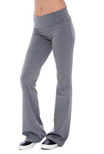 Fold-over Waistband Stretchy Cotton-blend Yoga Pants (Medium, Grey)