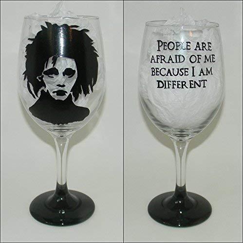 Edward Scissorhands shilhouette wine glass