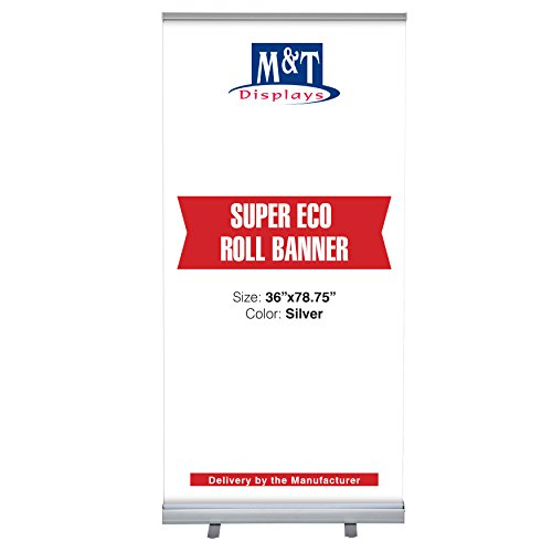 (Retractable Banner Stand Super Roll Up Display, Aluminum with Carrying Bag (36