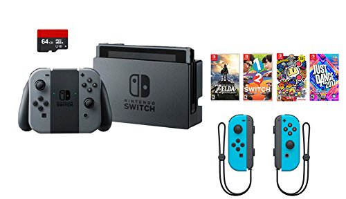 Nintendo Swtich 7 items Bundle:Nintendo Switch 32GB Console Gray Joy-con,64GB SD Card and Nintendo Controllers Neon Blue,4 Game Disc1-2-Switch Just Dance2017 The Legend of Zelda Super Bomberman R