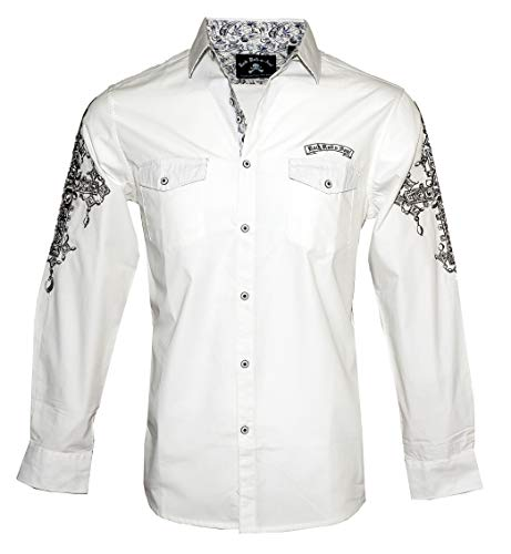 Men's 'Rebel Yell' Long Sleeve Embroidered Button Down White Shirt 718W (XL) -