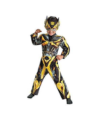 [Boys Transformers Bumblebee Toddler Muscle Costume] (Bee Toddler Costumes)