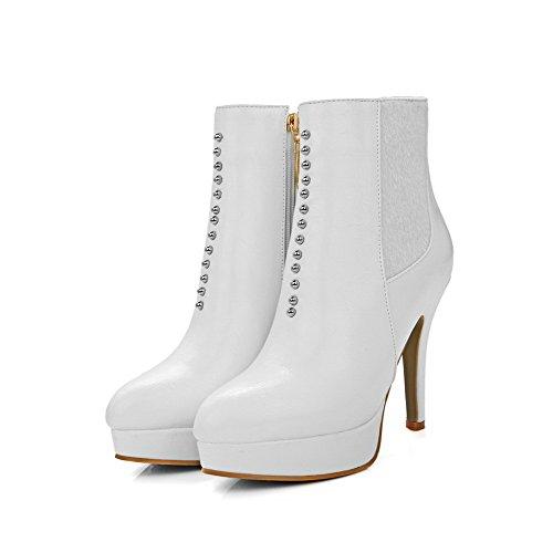 AgooLar Damen Reißverschluss Spitz Zehe Stiletto Niedrig-Spitze Stiefel, Weiß, 38