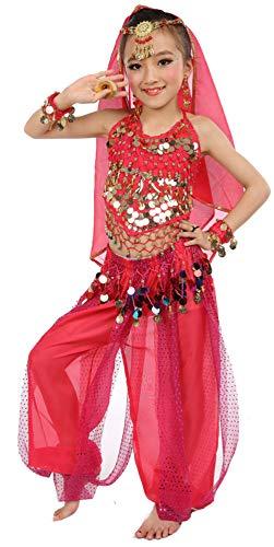 Girls Belly Dance Costume Set,Kids Halloween Costume Top Pants Jewelry Accessory Hot -