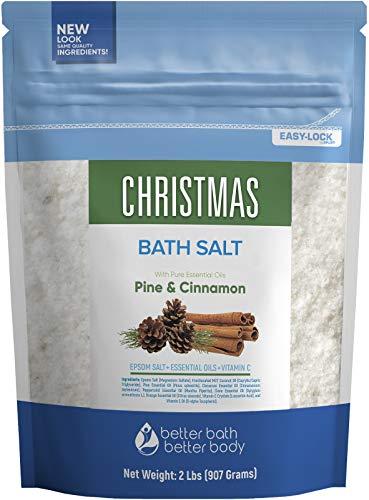 Christmas Bath Salt 32 Ounces Epsom Salt with Pine, Cinnamon, Peppermint, Clove and Orange Essential Oils Plus Vitamin C and All Natural Ingredients