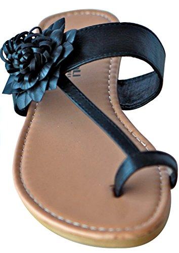 Xinyali Xyl12-08 Mujeres Casual Wear Tanga Plana Sandalias Sandalias De Tobillo Florales Flip-flops Negro