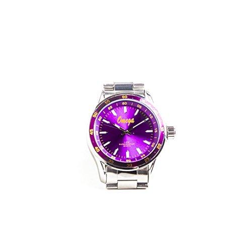 Omega Quartz Bracelet - Omega Psi Phi Fraternity Brilliant Purple Colored Face Silver Watch