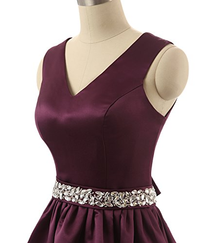 kurze Lila ärmellose Party Linie Cocktailkleid Mini eine Lovelybride Kleider Neu Frauen Dark qwxPBIWR