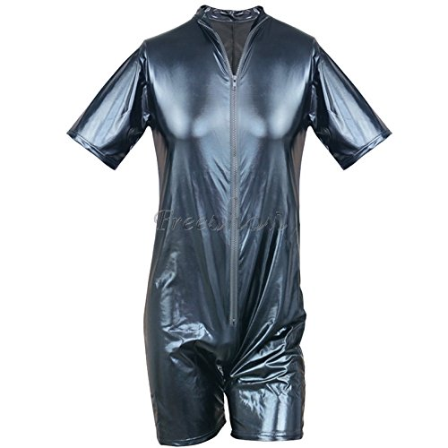 [iEFiEL Men Patent Leather Romper Bodysuit Club Studio Stage Catsuit Zipper Costume Black 2XL] (Dance Dress Costumes Studio)