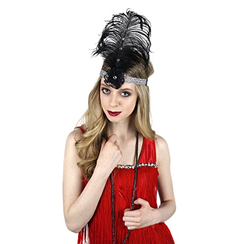 1920s Headpiece Feather Hair Accessories - Gatsby Costumes for Woman Flapper Headband -