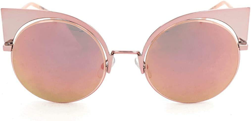 Trendy cat eye women's sunglasses// mirror effect with tinge of rose gold