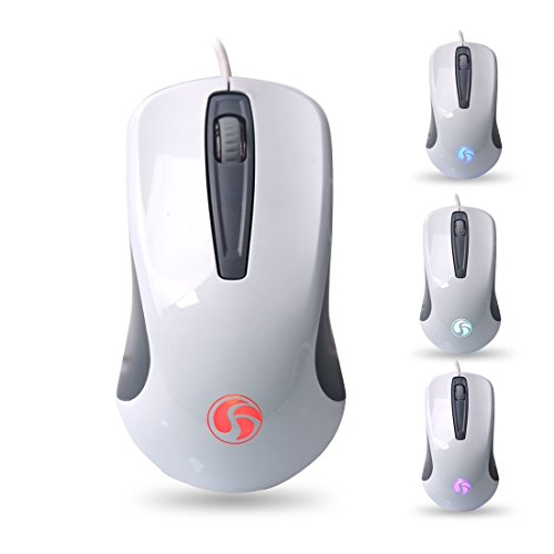 Usb Scroll (SAREPO iFashion Office Mouse 3-Button USB Wired Mice Scroll Wheel High Precision up to 1600 DPI Compatible with PCs, Macs, Desktops and Laptops)