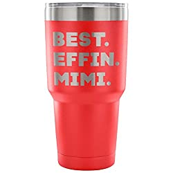 ArtsyMod BEST EFFIN MIMI Premium Vacuum Tumbler, PERFECT FUNNY GIFT for Your Grandmother from Granddaughter, Grandson! Humorous Gift, Attractive Water Tumbler, 30oz. (Red)