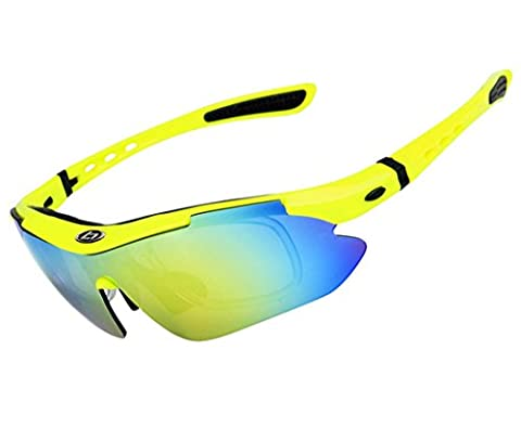 Wonzone Polarized UV Protection Sunglasses for Men Women Sports Glasses Cool Goggles with 5 Interchangeable Lens for Bicycling, Fishing, Golf, Driving, Skiing and All Outdoor Activities (Scratch Golf Game Gear)