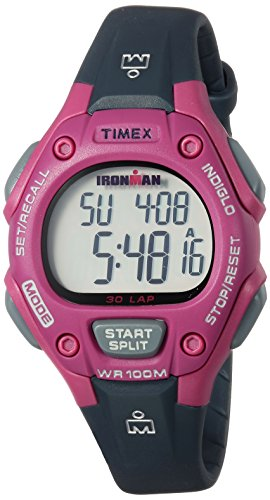 Timex Women's TW5M16100 Ironman Classic 30 Mid-Size Gray/Pink Resin Strap Watch
