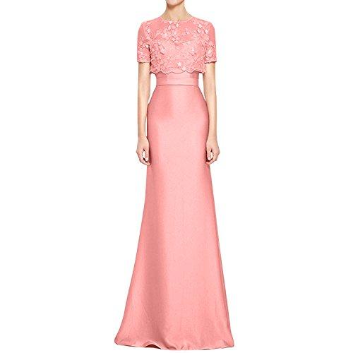 Satin mit Braut Abendkleider mia Jaket Elegant Spitze Abschlussballkleider Pfirsisch Spitze Brautmutterkleider Festlichkleider La pIwq4xz5p