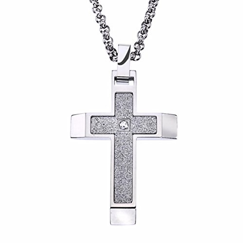 AX Jewelry Mens Textured Stainless Steel Cross Pendant (White)