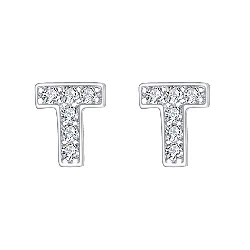 (EVER FAITH 925 Sterling Silver Pave Cubic Zirconia Fashion Initial Alphabet Letter T Stud Earrings Clear)
