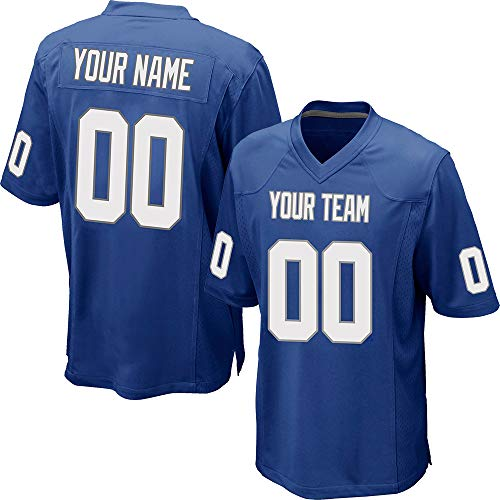 Custom Men's Blue Mesh Football Game Jersey Stitched Team Name and Your Numbers,White-Gray Size 2XL