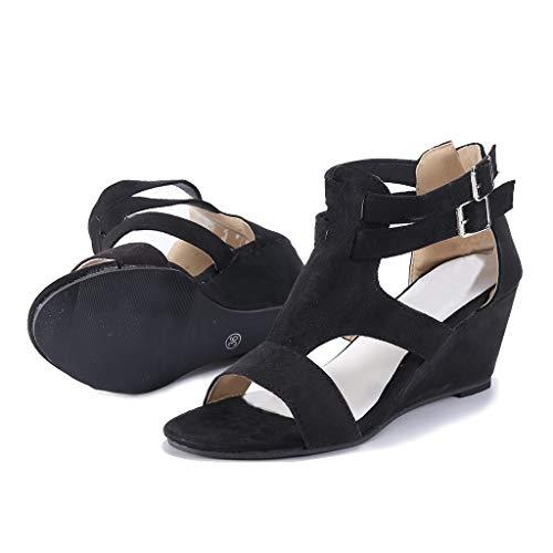 Donna Zeppa Saihui Shoes Nero Con Sandali women's X4q6qw1