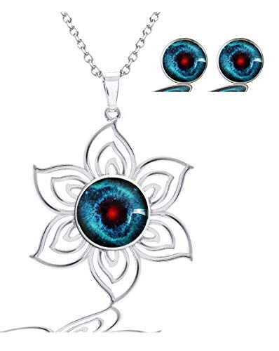 (MaXing Image Custom Fashion Lotus Pattern Glass Crystal Noosa Snap Charm Necklace Pendant with 2pcs Earing Studs Jewelry Set (Helix Nebula))