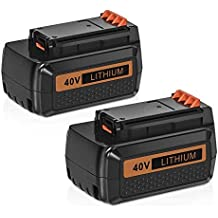 [Patrocinado] Hfeng 2 Pack 40 Volt MAX 3.0Ah Lithium Replacement Battery for Black and Decker 40V Battery LBX2040 LBXR36 LBXR2036 LST540 LCS1240 LBX1540 LST136W Black+Decker Lithium Battery