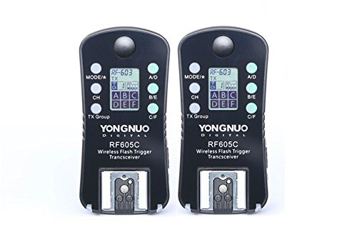 YONGNUO Wireless Flash Trigger & Shutter Release RF-605C RF605C for Canon DSLR 1D/7D/5D,10D/20D/30D/40D/50D series, 60D/70D/400D /500D /600D /700D /1000D series (Best Yongnuo Flash For Canon 60d)