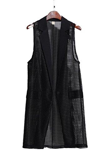 教え検出城[ユリカー] レディース ノースリーブ 薄手 ジレ ロング ベスト カーディガン 羽織 シフォン ノースリーブ 透かし彫り 着痩せ ゆったり フォーマル サイズM-5XL