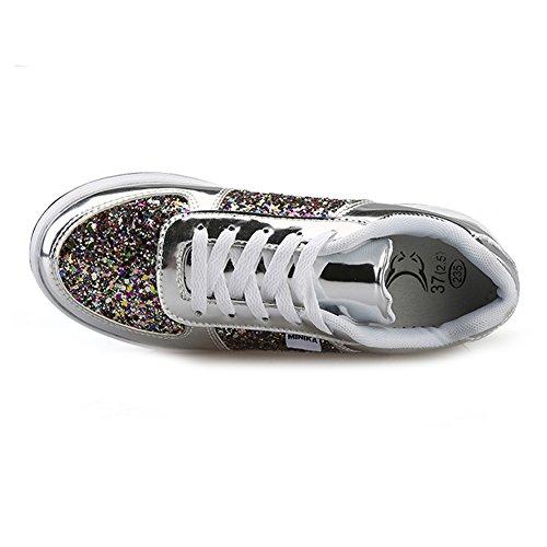 Zapatos plata Corriendo Caminar Deportes Respirable Mujeres para 3 8qwH4Hz