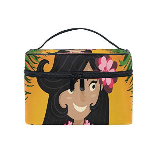 - LORVIES Hawaiian Aloha Hula Dancing Girl Cosmetic Bag Canvas Travel Toiletry Bag Top Handle Single Layer Makeup Bag Organizer Multi-function Cosmetic Case for Women