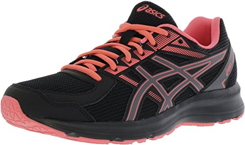 ASICS Womens Jolt Running Shoe Fabric Low Top Lace, Black/Carbon/Peach, Size 6.0
