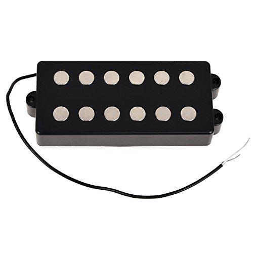 Black 6 String Bass Guitar Pickup Humbucker For Music Man Bass Coil (Humbucker Soundhole Pickup)
