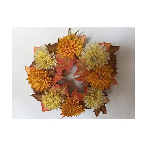 Spring/Summer yellow and orange Chrysanthemum wreath on Burlap ring, Synthetic flowers, Gold hanging ribbon