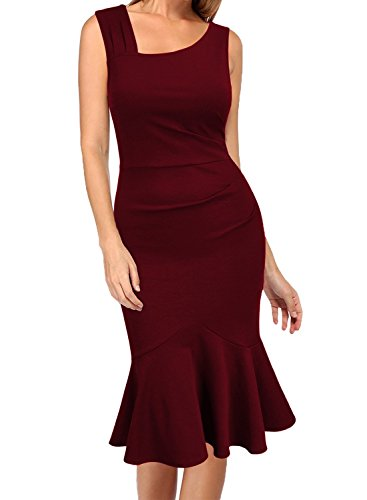 WOOSEA Womens Elegant Vintage Sleeveless Slim Mermaid Midi Mid-Calf Dress
