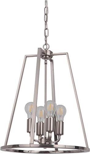 Craftmade 45934-PLN Foyer Lantern Chandelier Pendant Lighting  Arc, 4-Light 240 Watts, Polished Nickel