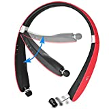 Bluetooth Headset, Bluetooth 4.1 Wireless Stereo Headphones , Retractable and Foldable Neckband Style Earbuds (Red)