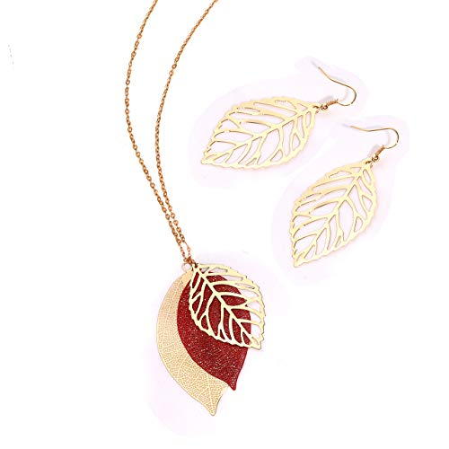 - NVENF Leaf Earrings and Long Necklaces Set for Women Boho Gold-Tone Multi Tiered Leaves Delicate Chain Dangle Necklace SimpleLeaf Statement Dangling Earrings (D Gold & Red)