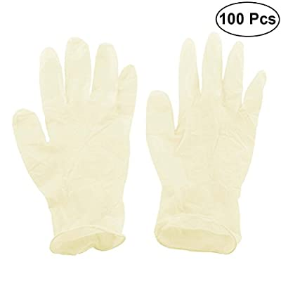 BESTONZON 100PCS Nitrile Powder Free Gloves Disposable Nitrile Gloves Food Grade Gloves Medical Exam Tattoos Piercing Gloves Size S (Yellow)