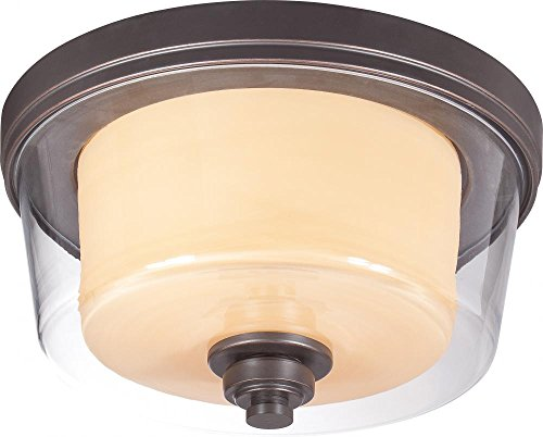 Nuvo Lighting 60/4551 Two Light Flush Mount, Bronze/Dark
