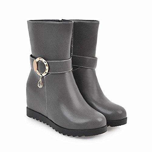 Heel Kurze Zip Mee Stiefel Damen Grau Shoes Inside Casual YzaIZw